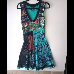 Multi Pattern Desigual Sleeveless V Neck Dress-Sm